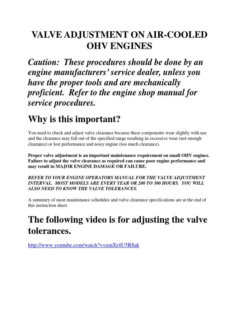 Valve Adjustment | Vehicle Parts | Engines