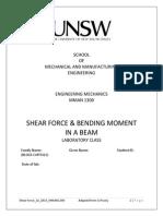 MMAN1300 Shear Force Bending Moment Experiment S2 2015