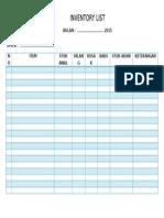 Contoh Inventory List Kantor