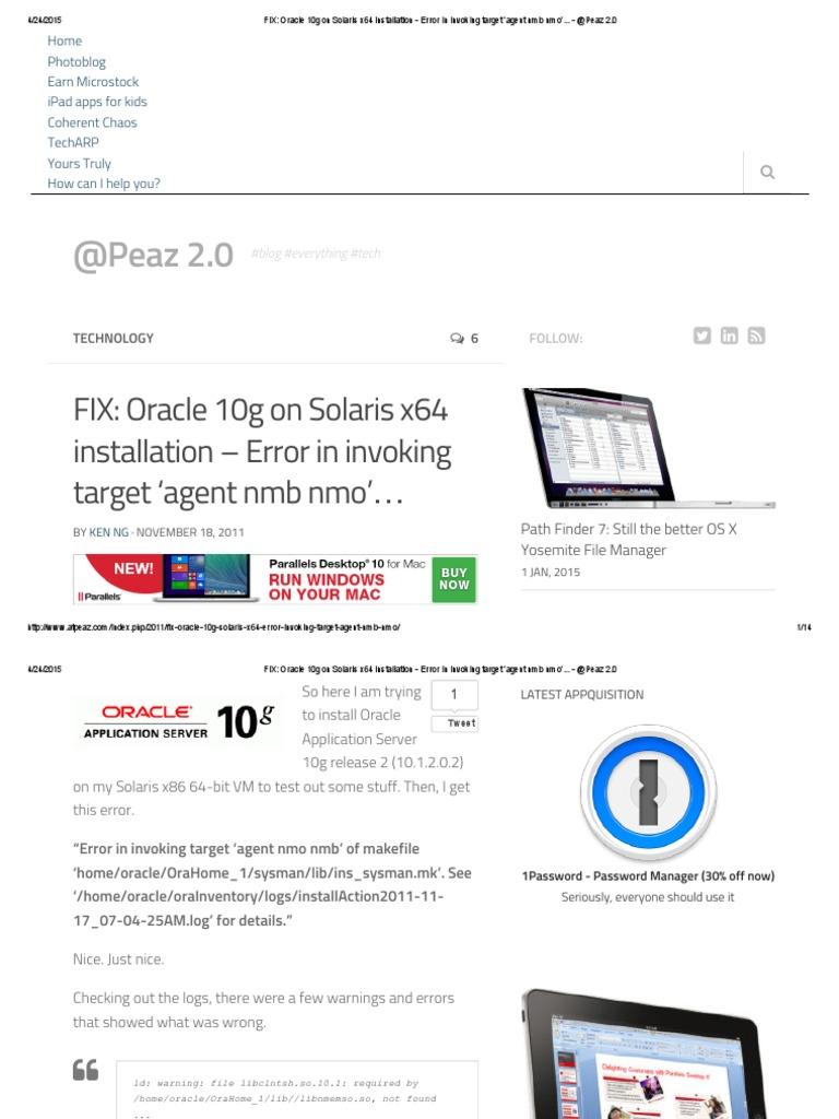 FIX_ Oracle 10g on Solaris x64 Installation - Error in