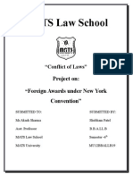 Conflicts of Law, Foreign Awards Under N Y Convention by Shubham