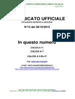 Comunicato ufficiale n. 13 del 28 ottobre 2015