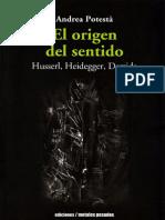 Potesta Andrea - El Origen Del Sentido - Husserl-Heidegger-Derrida
