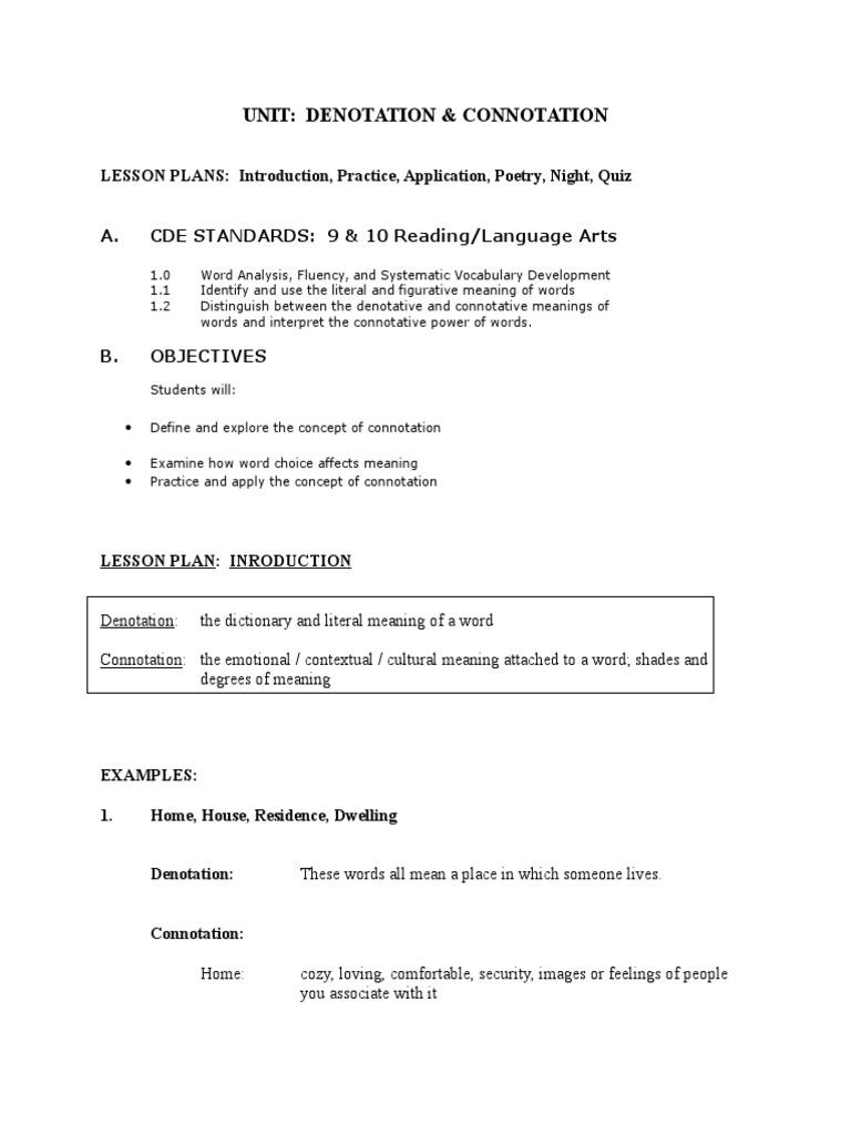 worksheet Denotation And Connotation Worksheets denotation connotation unit 9ab word