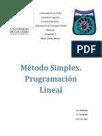 Metodo Simplex. Programacion Lineal