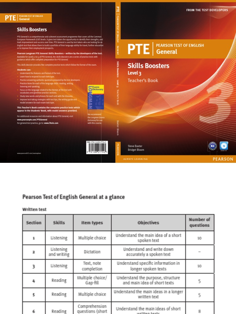 Pte General Skills Boosters 3 Teacher's Book Test (assessment) Multiple  Choice Document Readingprehension Strategies