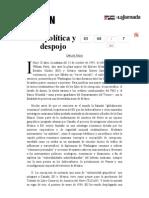La Jornada- Geopolítica y Despojo