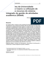 Os Docentes Da Universidade Federal Do Ceará e a Utilização de Alguns Dos Recursos Do Sistema Integrado de Gestão de Atividades