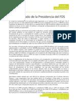 Comunicado de Presidencia sobre Fondo de Solidaridad