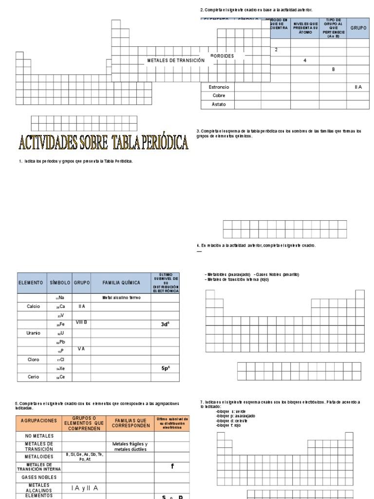 Actividades sobre tabla peridica 2do urtaz Image collections