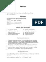Sample Teacher Resume  Examples Of Teacher Resumes