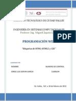 Investigación Etiquetas de HTML-HTML5 y CSS