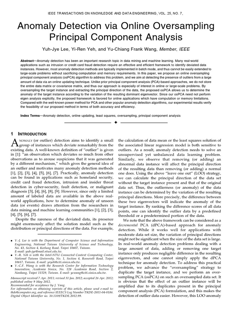 Anomaly Detection via Online Oversampling Principal
