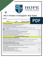 year 5 shadow investigation task