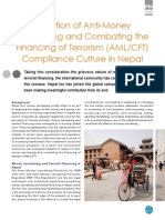 Evolution of Anti-Money  Laundering and Combating the  Financing of Terrorism (AML/CFT)  Compliance Culture in Nepal