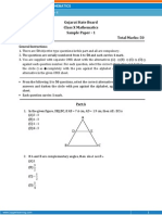 GUJARAT Maths Sample Paper 1 Class 10 Question Paper