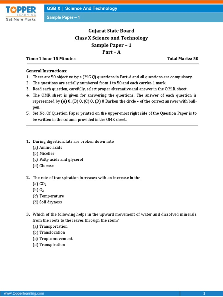 GUJARAT-Science sample paper-1-class-10 question paper | Oxide | Carbon
