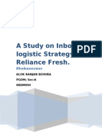 PROJECT ON A STUDY ON INBOUNDLOGISTIC STRATEGY OF RELIANCE FRESH.