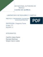 Sexta Práctica Equilibrio y Cinética Propiedades Coligativs Electrolitos