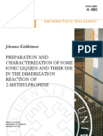 Preparation and Characterization of Some Ionic Liquids Andisbn9789514283550