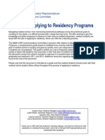 Advice on Applying to Residency Programs