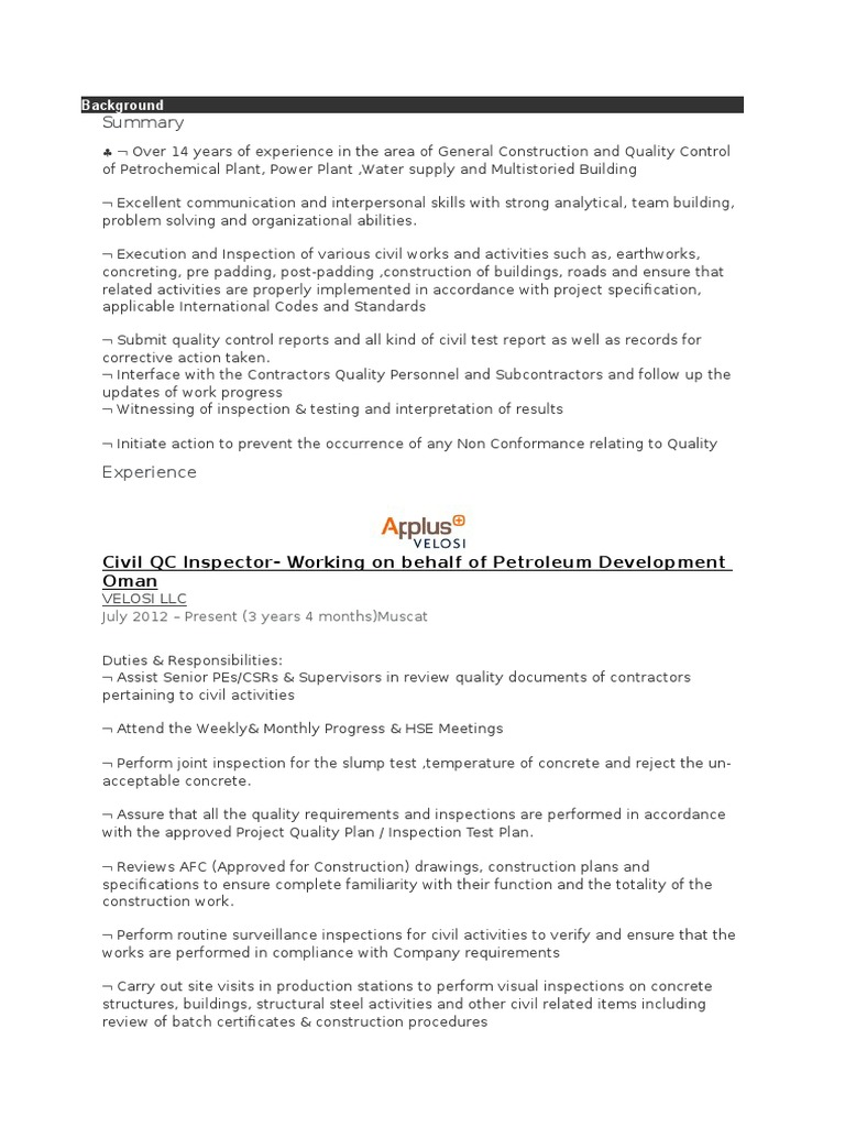 CV back up | Specification (Technical Standard) | Industries