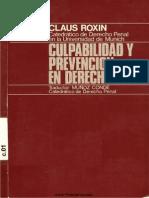 Claus Roxin - Culpabilidad y Prevencionen Derecho Penal