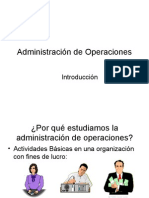 Introducción Administracion de Operaciones