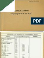 Detaljkatalog Kulsprutegevar M21 Och M37