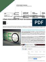 Cómo Posicionar Un Post en Google Con Optimización SEO