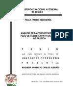 ANÁLISIS DE LA PRODUCTIVIDAD DE UN POZO DE ACEITE A PARTIR DE PRUEBAS DE PRESIÓN