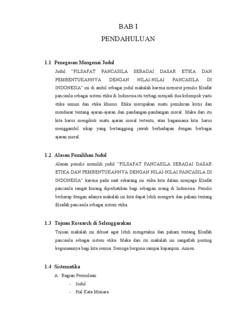Filsafat Pancasila Sebagai Dasar Etika Dan Pembentukannya Dengan Nilai Nilai Pancasila Di Indonesia