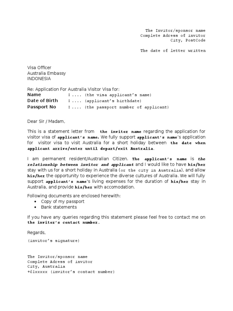 invitation letter for visitor visa australia docx