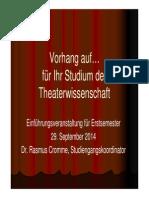 Vorhang für Ihr Studium der Theaterwissenschaft