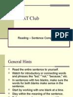 PSAT Reading, Sentence Completion