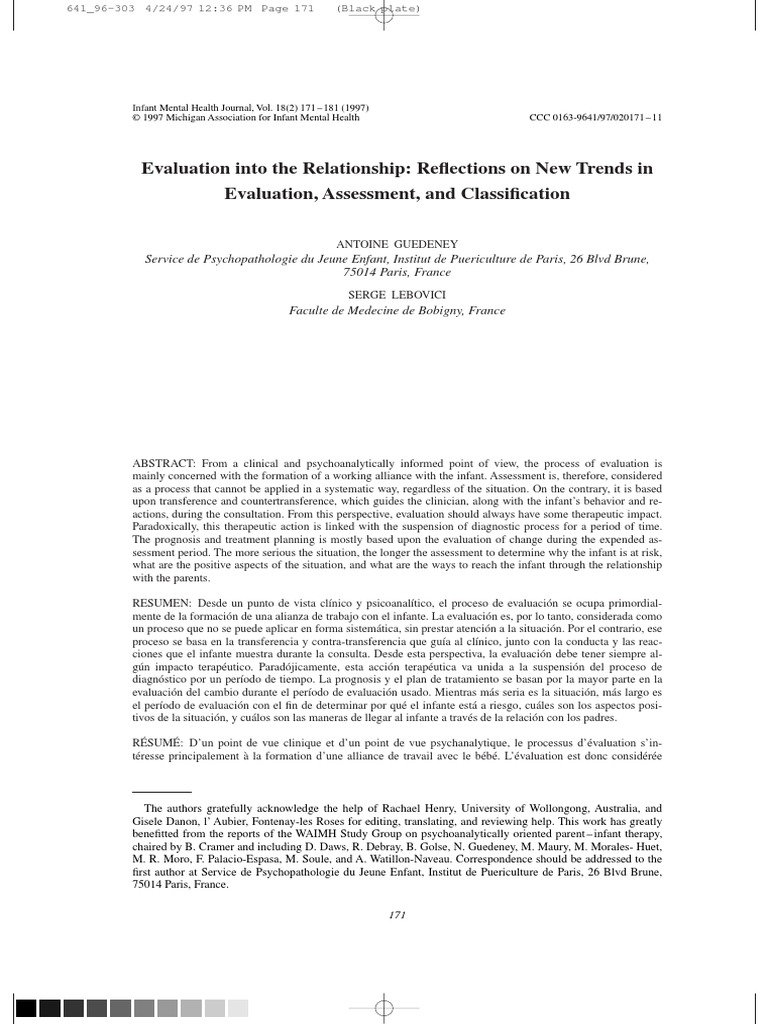 Evaluation into the relationship reflections on new trends in evaluation into the relationship reflections on new trends in evaluation assessment and classification attachment theory psychological evaluation nvjuhfo Images