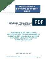 INSTALACION DEL SERVICIO DE PROTECCIÓN CONTRA INUNDACIONES EN EL SECTOR DE PUEBLO LIBRE, DISTRITO DE PUEBLO LIBRE, PROVINCIA DE HUAYLAS – ANCASH