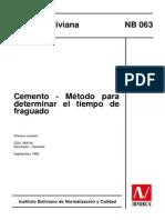 Norma Ibnorca - Metodo para determinar el tiempo de fraguado del cemento.pdf