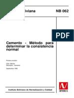 Norma Ibnorca - Metodo para determinar la consistencia normal del Cemento.pdf