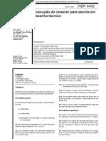 NBR 8402 NB 846 - Execucao de Caracter Para Escrita Em Desenho Tecnico