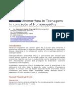 Amenorrhea in Teenagers in Concepts of Homoeopathy