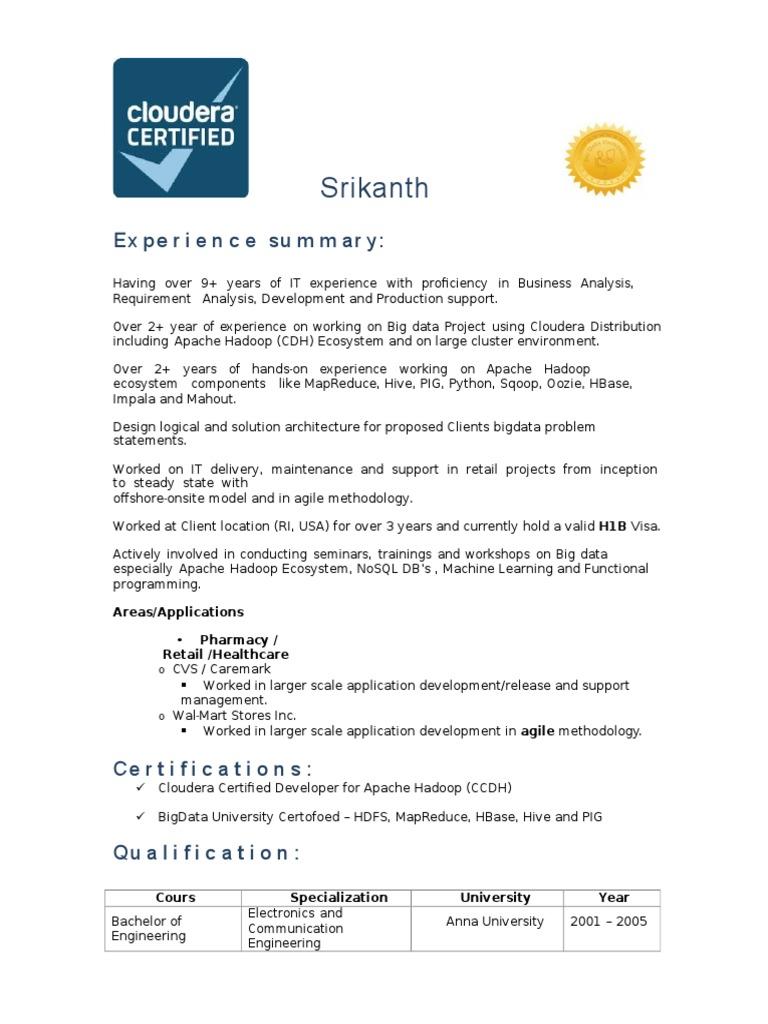 Srikanthhadoopclouderacertifiedc Apache Hadoop Data