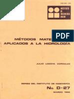 METODOS MATEMATICOS APLICADOS A LA HIDROLOGÍA