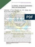 Optimization of Process Parameter for CNC Turning using Response Surface Methodology