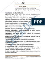 Business Planning and Policy
