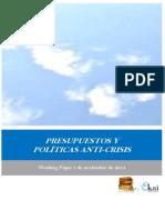 PRESUPUESTOS Y POLITICAS ANTICRISIS EN LA CA EUSKADI