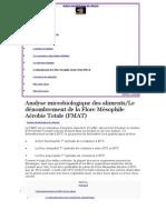 Analyse Microbiologique Des Aliments