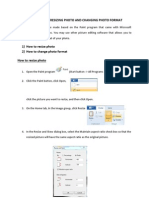 User guide on resizing photo and changing photo format