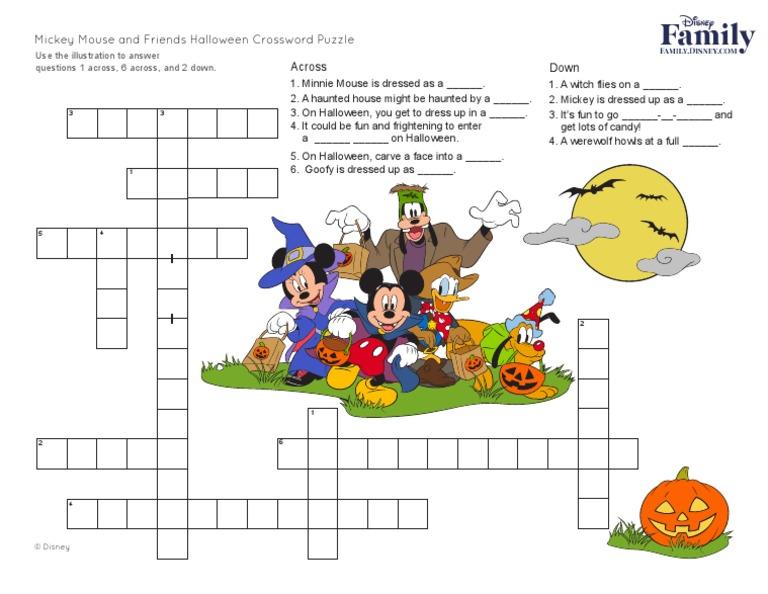image regarding Disney Crossword Puzzles Printable referred to as Disney Mickey Mouse Halloween Crossword Puzzle