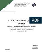 PRACTICA Tema II. Laboratorio de Maquinas I. Transformador Monofásico